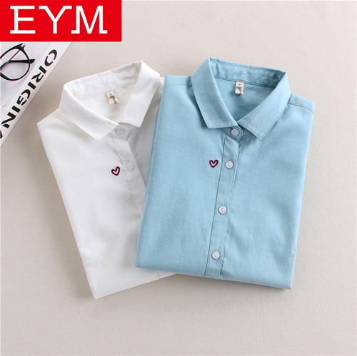 Brand Embroidery Women Blouses 2018 New Spring Women Long Sleeve Blouse Cotton Oxford Casual White Shirts Female Tops Clothing