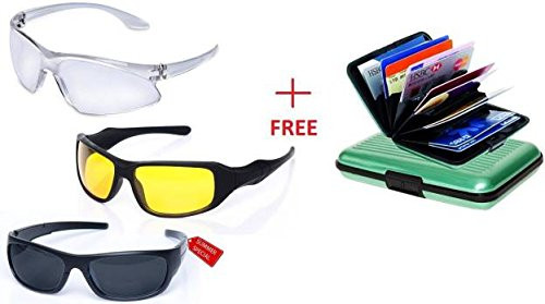 HD Vision Sunglasses Set of 3 Wrap Around Combo + 01 FREE Aluma Wallet