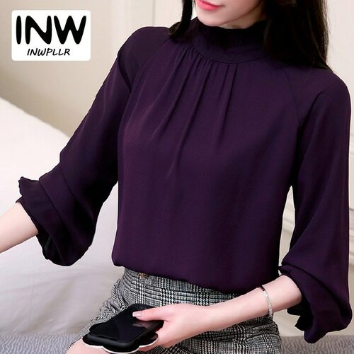 2018 Spring Blusas Feminina Elegant Chiffon Blouses Women Casual Lantern Sleeve Female Shirt Fashion Pink Purple Tops Ladies