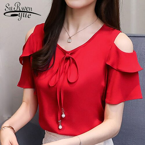 2018 fashion bow v-neck sweet women's clothing summer short sleeve chiffon women shirt blouses red women's tops blusas D667 30