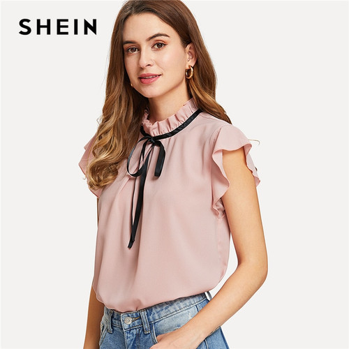 33c4917e9d727 SHEIN Bow Tied Frilled Neck Button Back Blouse 2018 Summer Stand Collar Cap  Sleeve Ruffle Youthful · Choose Options