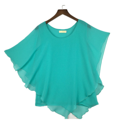 16 Color Plus size S- 5XL 6XL Ladies Chiffon Blouses chiffon shirts blusas,Batwing sleeve tops shirts women asymmetric shirts