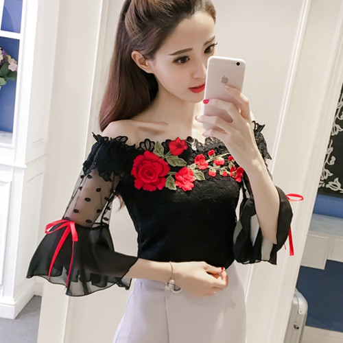 blouse fashion 2018 Summer women shirt flower Embroidery flare sleeve lace women's cloting sexy black women tops blusas 6811 30