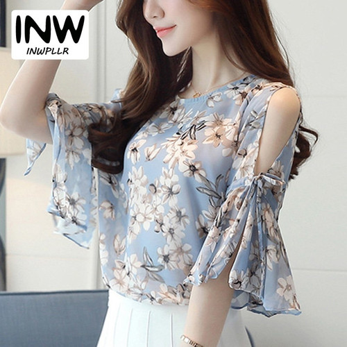 2018 Chiffon Floral Print Blouses For Women Ladies Fashion O-Neck Flare Sleeve Blusas Tops Female Cold Shoulder Summer Shirts