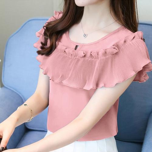 2018 summer short sleeve chiffon women's tops sweet plus size women blouse shirt fashion yellow women's clothing blusas D761 30