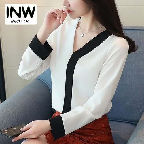 2018 New Ladies Tops Office Chiffon Blouse Women Fashion V-neck Long Sleeve Patchwork Shirt Female Casual Spring Blusas Mujer
