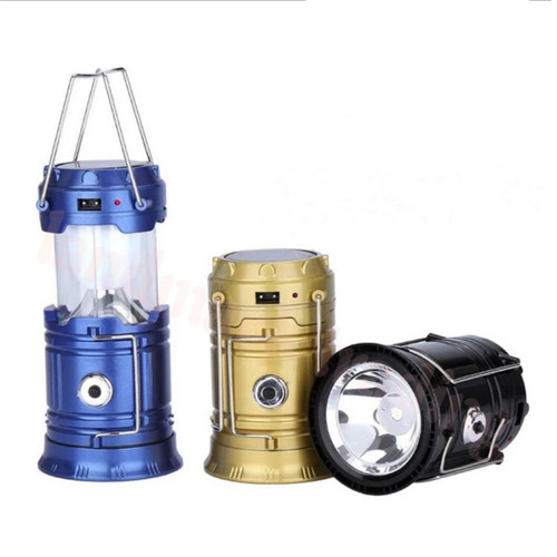 Solar Rechargeable Camping Lantern with 6 LED + Inbuilt Torch + Emergency Mobile Charging