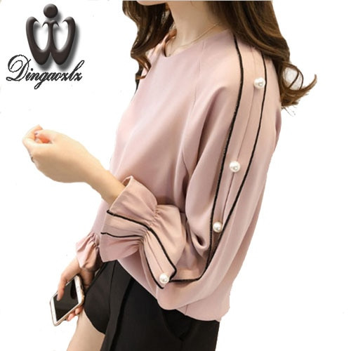 Plus size Chiffon shirt female 2018 Blusa Beaded Tops Spring long-sleeved Solid color Women blouse Women clothing
