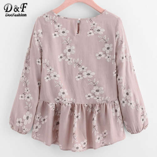 Dotfashion Calico Print Frill Hem Ruffle Blouse 2017 Women Pink Round Neck Floral Top Autumn High Low Button Blouse