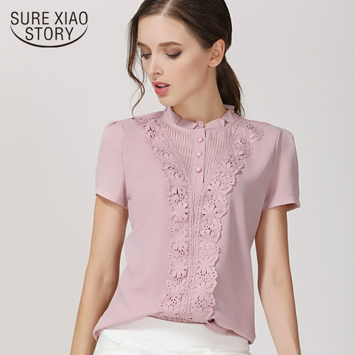 New 2018 Summer Fashion Chiffon Women Blouses Shirts Short Sleeve Tops Lace Chiffon Women Blouse Shirt Blusas Feminine  37F 30