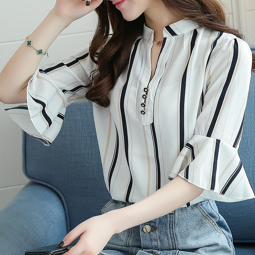 Blusas Femininas 2018 New Fashion Chiffon Blouse Women Printed Blouses Floral Print Shirts Summer Ladies Tops Big Size