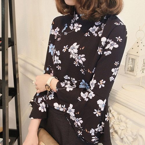 2017 Korea Fashion Women Blouse Chiffon Blusas Floral Feminina Chemise Femme Flare Sleeve Blouse Shirt Turtleneck Ladies Tops