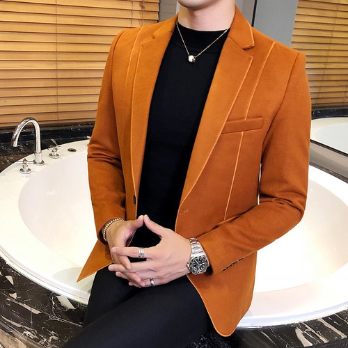 Wool Blend Blazer Men 3 Solid Color, Black Grey Orange Business Casual Mens Vintage Blazer Suit Jacket Men Male Suit Coat 5xl