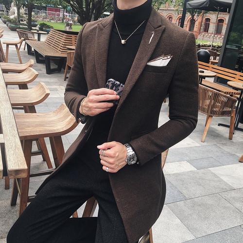 7 Solid Color Long Blazer Men Vintage Retro Slim Fit Blazer Hombre Casual Wool Blend Men Coat High Quality Designer Blazer