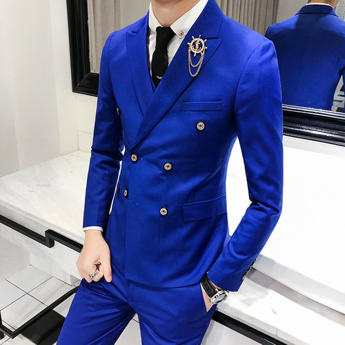 1 Piece / 2018 spring new men's suits jacket , solid color Blazers men / England style wind double breasted suit men's jackets