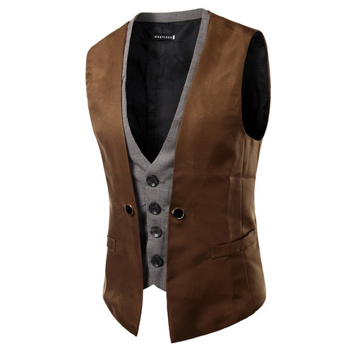 MarKyi 2017 fashion fake two pieces mens double breasted waistcoat good quality slim fit mens suit vest size m-2xl