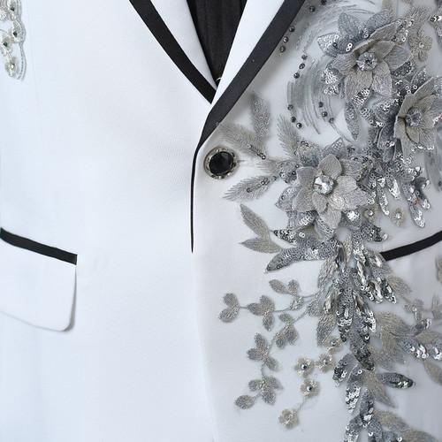 e63ed3e2b3f9 PYJTRL Male Double-side 3D Crystal Embroidery Flowers Stage Singer  Nightclub Suit Jacket Tide Bar