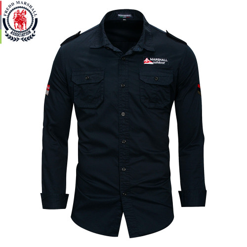 Fredd Marshall 2018 New 100% Cotton Military Shirt Men Long Sleeve Breathable Casual Shirt Man Solid Shirt With Embroidery FM115
