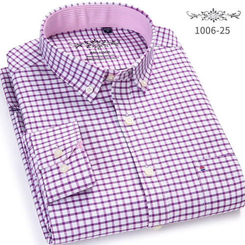 Men Shirt Long Sleeve Regular Fit men Plaid & Striped Shirt Oxford Mens Dress Shirts Blue Casual Camisa Social 5XL 6XL Plus Size