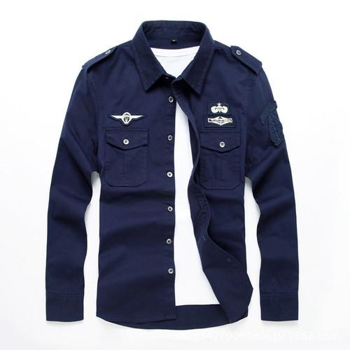 top quality fashion men long sleeve cotton shirts military fitness cargo outwear dress shirts M-6XL AYG75