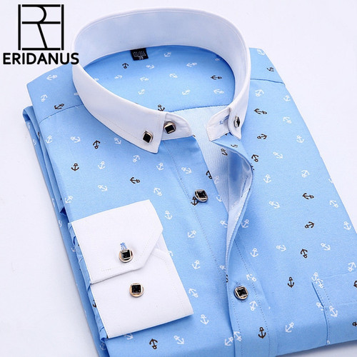 2016 Men Retro Floral Printed Shirts Fashion Classical Man Long Sleeve Slim Fit Comfort Soft Cotton Leisure Styles Shirt M035