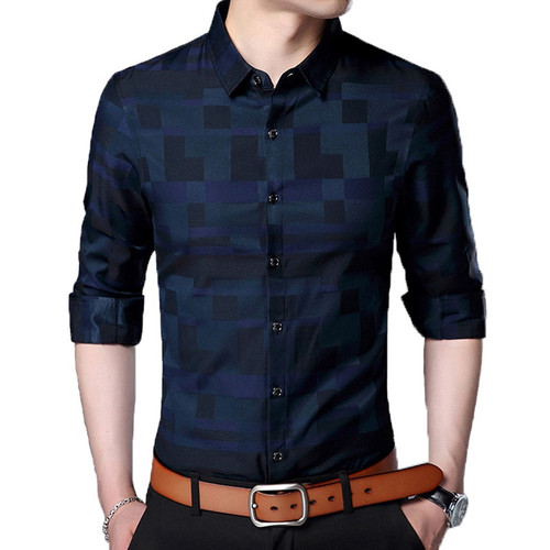 Brother Wang Brand 2018 Spring New Men's Casual Slim Shirt Fashion Business Cotton Plaid Long-sleeved Shirt clothes 3XL 4XL