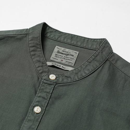SIMWOOD Casual Shirt  Men 2018 Autumn New Mandarin Collar Pure Cotton Slim Fit Plus Size Double Pocket Collarles Clothing 180012