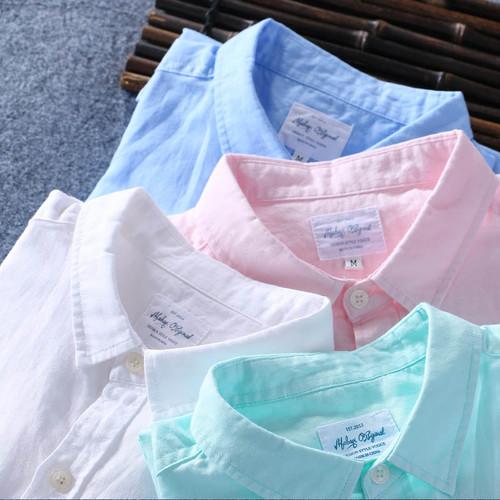 Top Quality 2018 Men Spring Summer Cotton Linen Shirt Slim Square Collar Comfortable Undershirt Male Plus Size