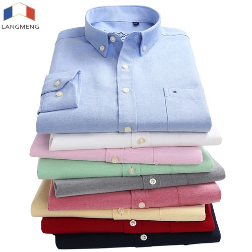 LANGMENG 2018 plus size 5xl 60% Cotton Oxford Shirt New Men Casual Shirts Long Sleeve Mens High Quality Slim Fit Dress Shirts