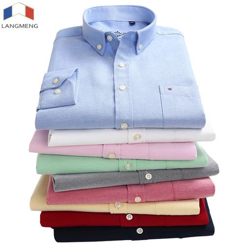 LANGMENG 2018 plus size 5xl 60% Cotton Oxford Shirt New Men Casual Shirts Long Sleeve Mens High Quality Slim Fit Dress Shirts