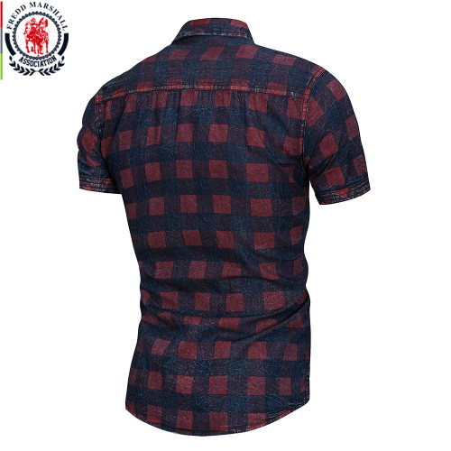 FREDD MARSHALL 2018 New Summer Short Sleeve Denim Shirt Men Casual Business Plaid Shirts Male Brand Clothes 100% Cotton 55891