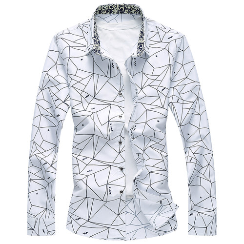 M-6XL Dress Shirt Men 2018 Autumn Button Down Geometric Printing Long Sleeve Casual Shirts Plus Size Camisa Social Masculina