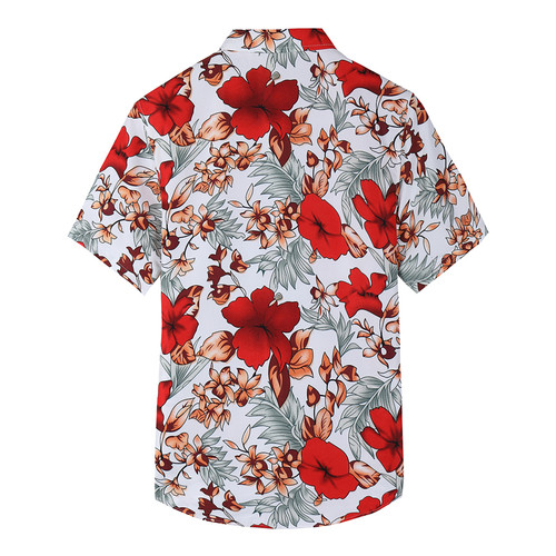 2018 Summer New Shirt Men's Casual Red Flower Short-sleeved Shirt Fashion Trend Plus Size Hawaiian Shirt Brand Clothes 6XL 7XL