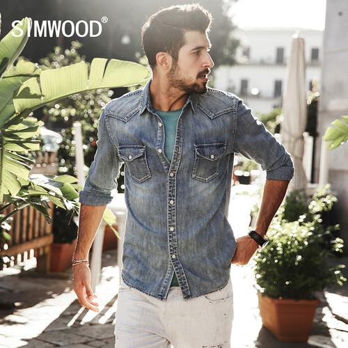SIMWOOD Denim Casual Shirts Men 100% Pure Cotton 2018 New Arrival Autumn Winter Vintage Shirts Male Brand Clothing CS1572