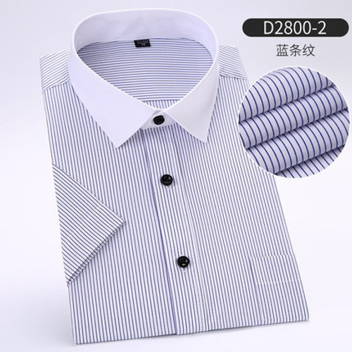 New Spring Fashion Casual Plus Size 5XL 6XL 7XL 8XL Easy-Care Striped Twill Short Sleeve Men Dress Shirt Large Big Blue Green