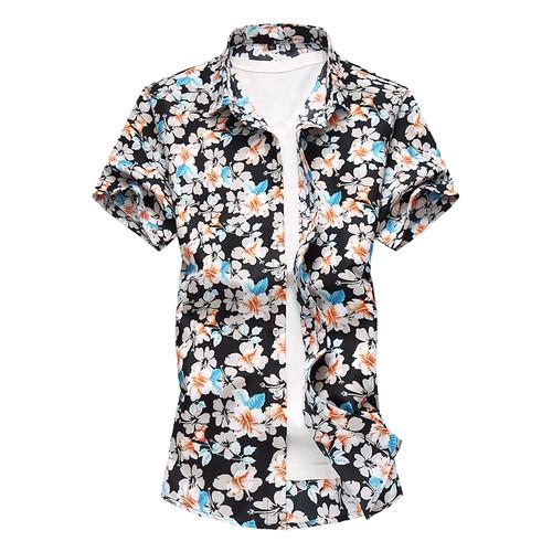 Summer Mens Short Sleeve Beach Hawaiian Shirts Cotton Casual Floral Shirts Plus Size 7XL 2018 New Mens Clothing Fashion