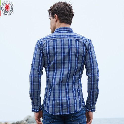 2017 New Arrival Men's shirt  Long Sleeve Plaid Shirts Mens Dress Shirt Brand Casual Denim Style Checks Shirts 102