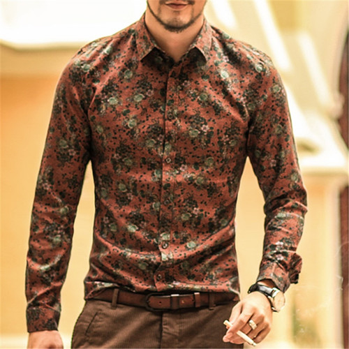 18d39b98a80 Men shirt Floral printing long sleeve shirts men clothes flowers printed  shirts vintage Linen Casual Men Shirt 2018 new Spring