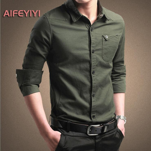 2018 spring men's shirt men's long-sleeved cotton shirt youth business solid color shirt Korean Slim clothes
