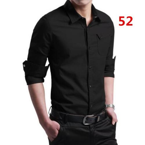 2018 spring men's shirt men's long-sleeved cotton shirt youth business solid color shirt Korean Slim clothes