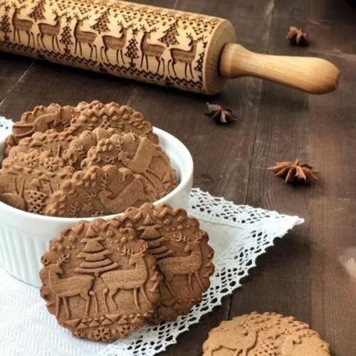 New Dog Christmas Deer Wooden Rolling Pin Embossing Baking Cookies Noodle Biscuit Fondant Cake Dough Patterned Roller Snowflake