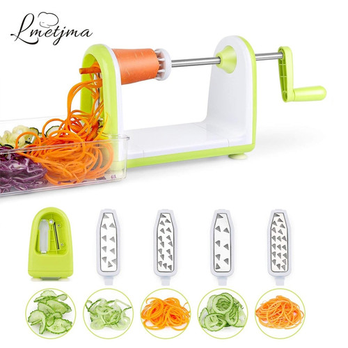 LMETJMA Spiralizer Vegetables Slicer Stainless Steel Vegetable Slicer Shredder Zucchini Noodle Maker Spaghetti Spiralizer KC0089