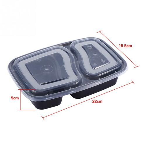 10Pcs/Set 2 Compartment Meal Prep Plastic Food Container Lunch Box Bento Picnic Eco-friendly With Lid Microwavable Lunchboxes