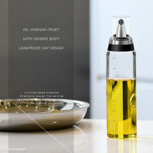 Premium Olive Oil Bottle No Drip Glass Oil Pourer Kitchen Olive Oil Container Vinegar Measuring Spout Bottle 350ML & 500ML