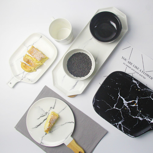 Creative Design European Style Marble Pattern Ceramic Tableware Porcelain Plate Dish Platter Bowl Cutter Board Dinnerware Set