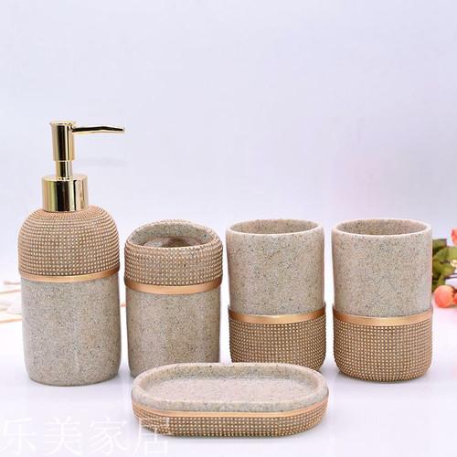 5 pcs/set Resin Soap Dish Shower Gel Shampoo Liquid Bottle Toothbrush Holder Tooth Mug Water Cup Bathroom Accessories Set