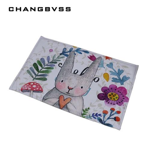 Bathroom Carpet Doorway Floor Antiskid Absorbent Cute Smell Rabbit Printing Bath Mat Kitchen Carpet Rugs Doormat tapete banheiro