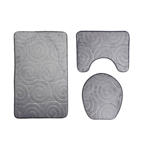 3pcs Anti-slip Bath Rug Toilet Mats Set Soft Absorbent Bathroom Carpet Pedestal Pan Toilet Lid Seat Cover Closestool Pad