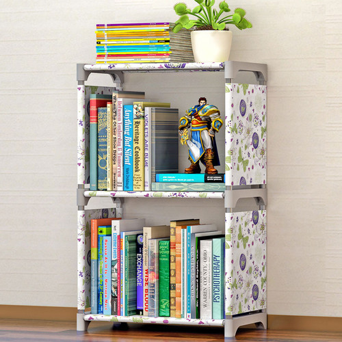 COSTWAY Fashion Simple Non-woven Bookshelves Two-layer Dormitory Bedroom Storage Shelves Bookcase Boekenkast Librero W0184