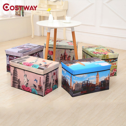 COSTWAY Multi-function Non-woven Retro Folding Storage Stool Sit Box Shoes Stool Storage Box Organizer Home Decoration W0135